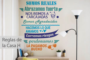 Reglas de la casa Happy - Decoración de Paredes